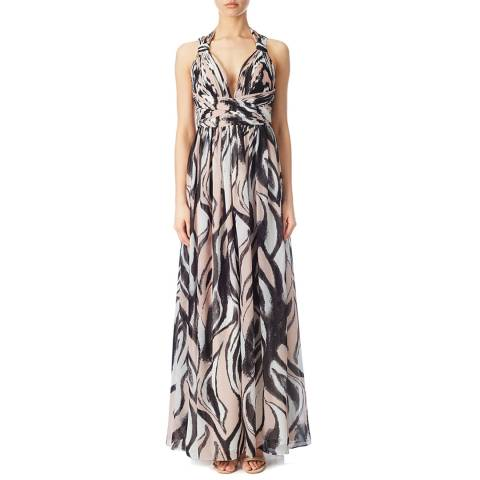 Aidan Mattox Blush/Black V Neck Maxi Dress