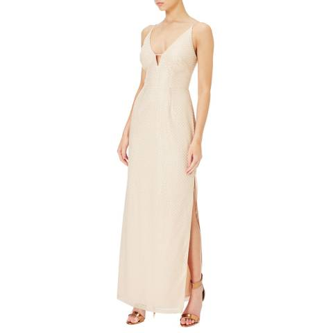 Aidan Mattox Champagne/Silver Embellished Column Dress