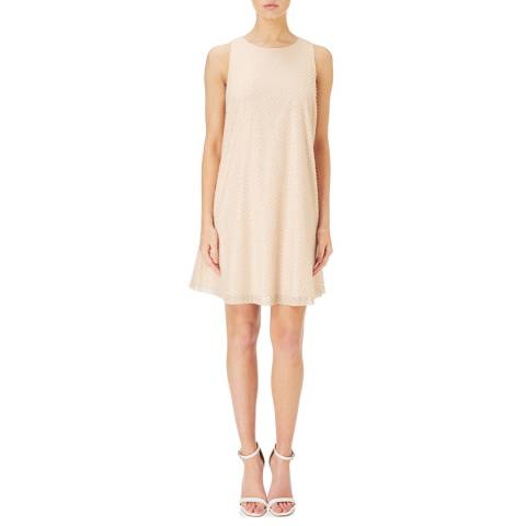 Aidan Mattox Champagne/Silver Boatneck Sleeveless Dress