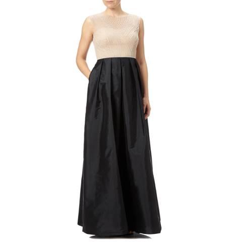 Adrianna Papell Black/Nude Adrianna Papell Pearl Beaded Taffeta Gown