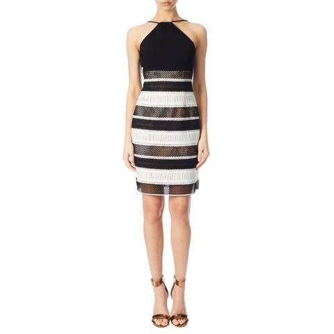 Aidan Mattox Black/Ivory Aidan Mattox Contrast Striped Lace Dress