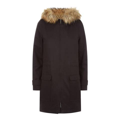 Jaeger Black Faux Fur Trim Detail Parka Coat