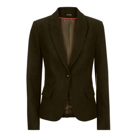 Jaeger Dark Green Wool Blend Herringbone Jacket