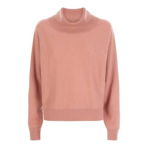 Jaeger Pink Cashmere Blend Slouchy Cowl Neck Jumper