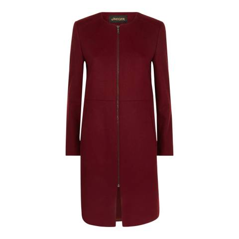 Jaeger Red Collarless Zipped Wool Blend Coat
