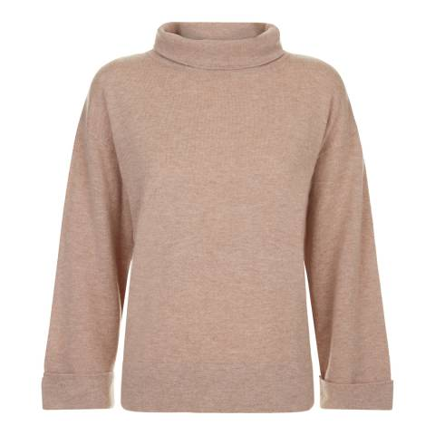 Jaeger Pink Wool Cashmere Slouchy Cowl Neck Jumper