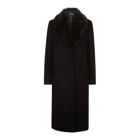 Jaeger Black Longline Fur Collar Event Coat