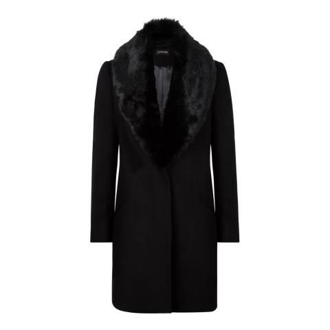 Jaeger Black Short Faux Fur Collar Coat