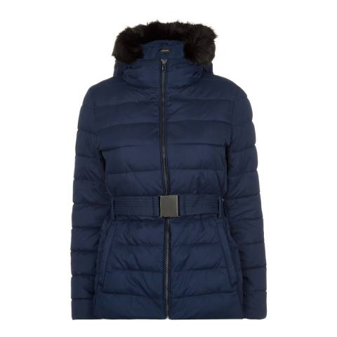 Jaeger Navy Short Belted Puffa Coat