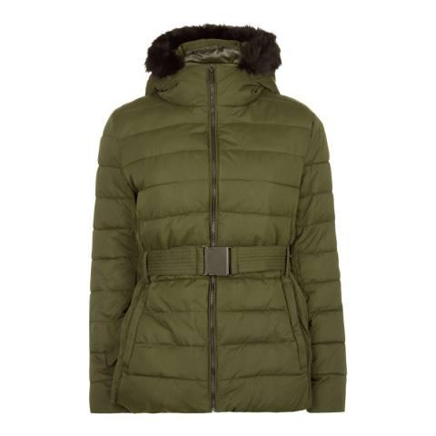 Jaeger Khaki Short Belted Puffa Coat