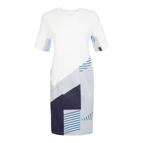 Jaeger Ivory Cutabout Stripe Dress