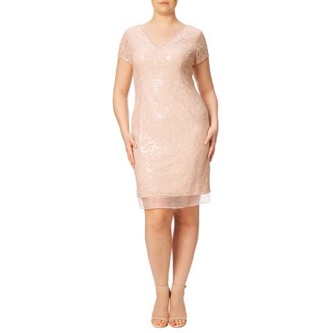 Adrianna Papell Silver/Nude Adrianna Papell Sequin Lace Organza Dress