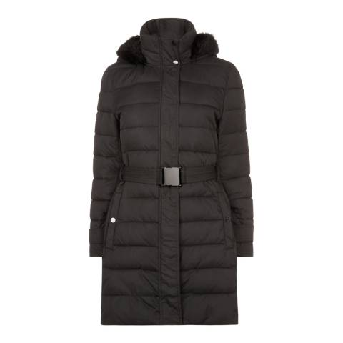 Jaeger Black 3/4 Length Belted Puffa Coat