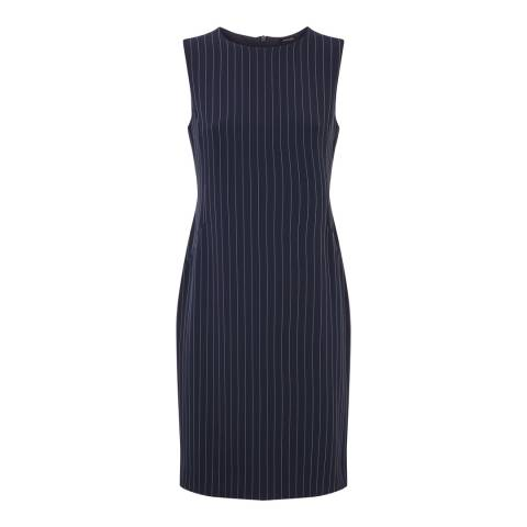 Jaeger Navy/White Sleeveless Pinstripe Dress