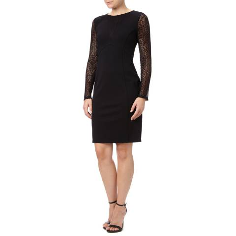 Adrianna Papell Black Adrianna Papell  Lace Detail Long Sleeved Fit Dress