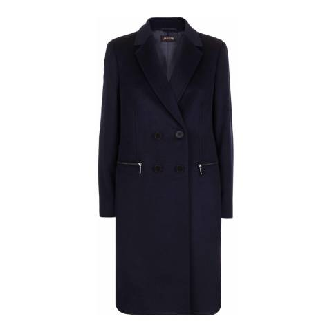 Jaeger Black Zip Pocket Wool Blend Coat