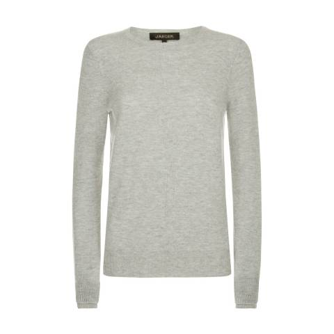 Jaeger Grey Wool Cashmere Double Trim Crew Neck Jumper