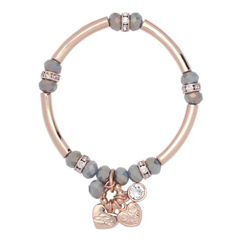 BiBi Bijoux Rose Gold/Grey Heart Charm Bracelet