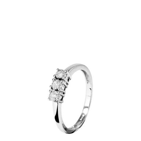 Pretty Solos Silver Trilogy Diamond White Gold Ring