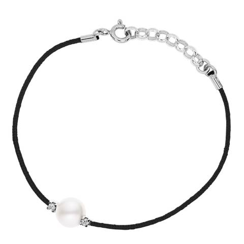 Only You Black String Freshwater Pearl Diamond Bracelet 0.05Cts