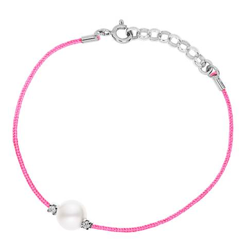 Pretty Solos Pink String Freshwater Pearl Diamond Bracelet 0.05Cts