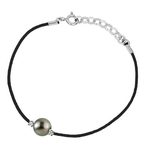 Pretty Solos Black Nylon String Tahiti Pearl Diamond Bracelet