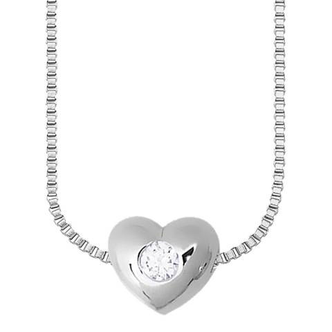 Only You Silver Venetian Heart Set Diamond Necklace 0.05Cts