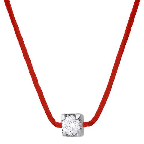 Only You Red Nylon String Diamond Silver Necklace 0.05Cts