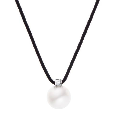 Only You Transparent Diamond Freshwater Pearl Silver Necklace 0/05Cts