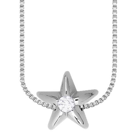 Only You Silver Star Diamond Link Necklace 0.05Cts