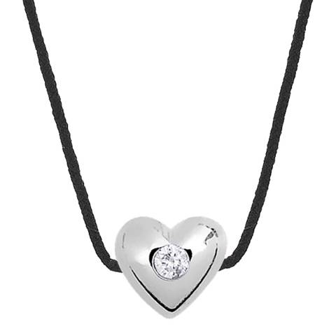 Pretty Solos Black Heart Set Real Diamond Necklace 0.03Cts