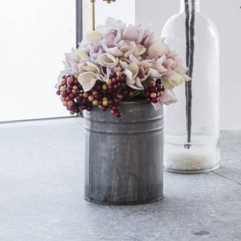 Gallery Hydrangea With Metal Vase