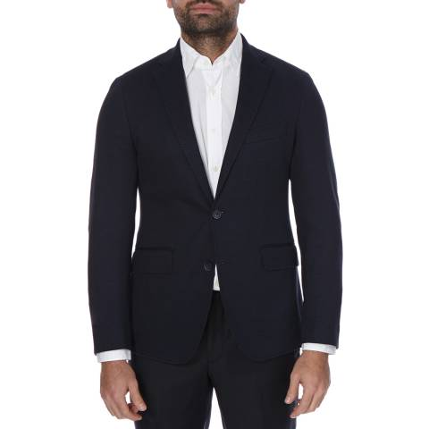 Hackett London Navy Cotton Silk Texture Jacket