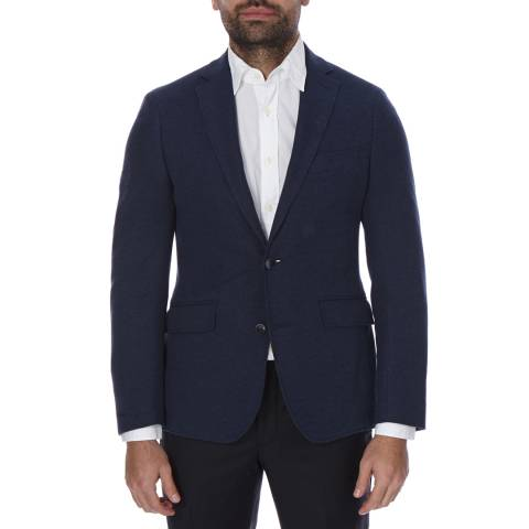 Hackett London Navy Honeycomb Piquet Jersey Cotton Jacket