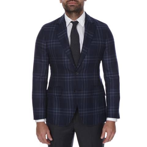 Hackett London Navy Plaid Check Wool Jacket