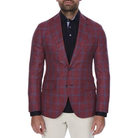 Hackett London Red/Blue Contrast Windowpane Wool Blend Jacket