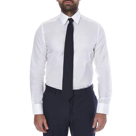 Hackett London White Slim Slub Texture Cotton Linen Blend Shirt