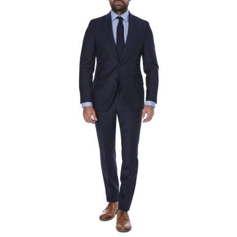 Hackett London Navy Plain 2 Piece Classic Fit Wool Suit