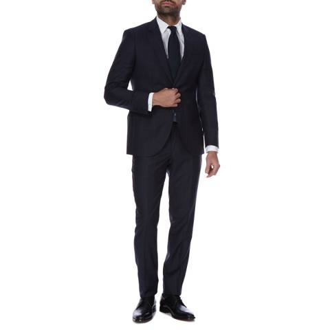 Hackett London Navy Windowpane Check 2 Piece Classic Fit Wool Suit