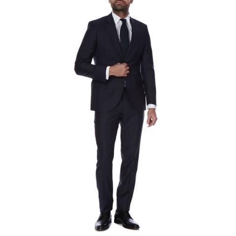 Hackett London Navy Windowpane Check 2 Piece Classic Fit Wool Suit