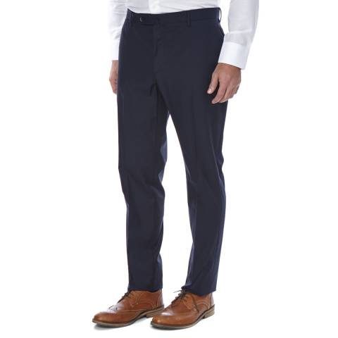 Hackett London Navy Sharkskin Cotton Trousers