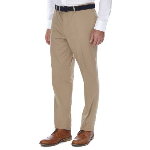 Hackett London Brown Formal Stretch Cotton Blend Trousers