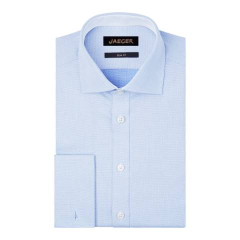 Jaeger Blue Dobby-Weave Slim Cotton Shirt