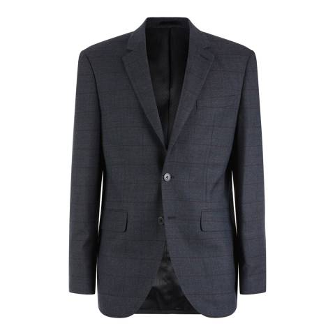 Jaeger Charcoal Regular Fit Windowpane Check Wool Jacket