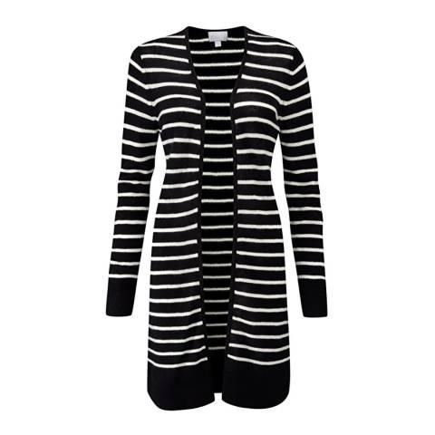 Pure Collection Black/White Gassato Cashmere Rib Longline Cardigan