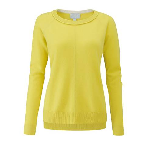 Pure Collection Chartreuse Cashmere Stepped Hem Jumper