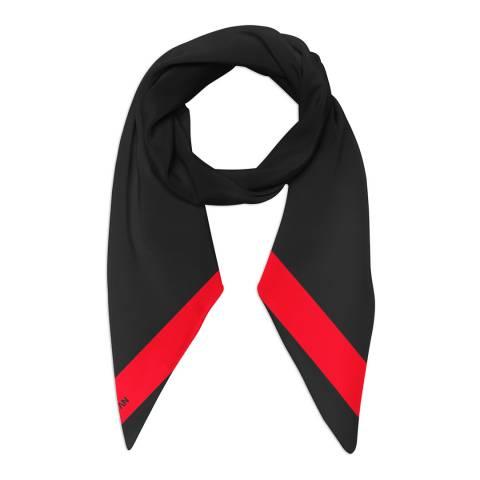 Alber Zoran Black/Red Plain Stripe Scarf