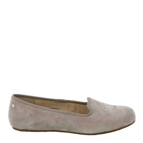UGG Womens Grey Suede Sea Glisten Flats