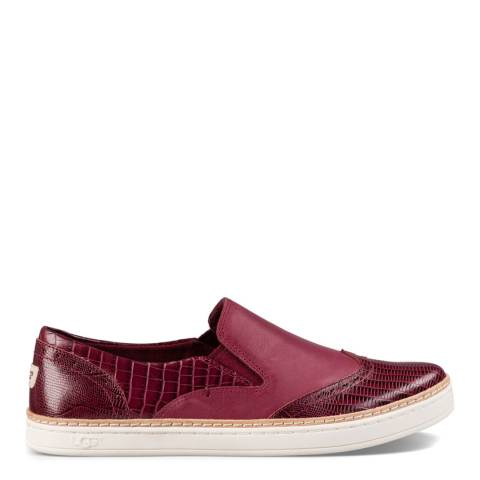 UGG Womens Red Leather Hadria Croc Flats