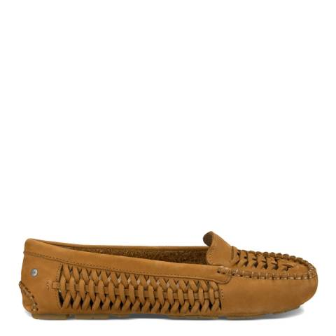 UGG Womens Chestnut Woven Nubuck Clary Flats